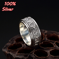 10mm S925 Sterling Silver Character six words of true words swastika Antique Silver vintage couple hot style turns rings