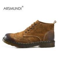 Arsmundiクラシック本革ツーリングブーツクレイジーマーチンブーツ男性ファッション砂漠ブーツ人気の高トップ革の靴38-45