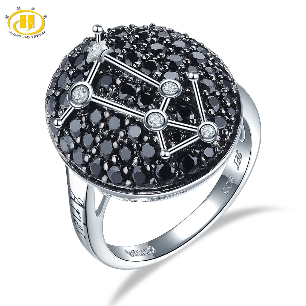 Hutang Aries Rings Natural Gemstone Black Spinel 925 Silver Ring Fine Jewelry Birthday Gift Women s