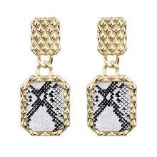 ZA Big Rectangle Metal Drop Earrings For Women Party Hanging Handmade Trendy Statement Jewelry Gifts Female Bijoux