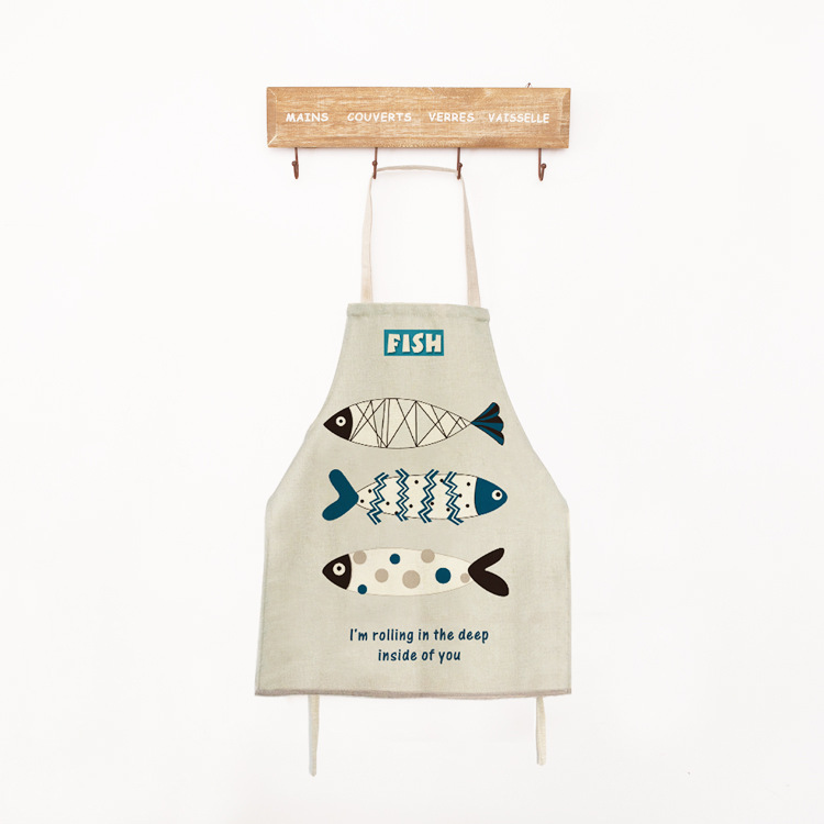 Cooking Apron Kort Novelty Fish BBQ Party Forklær for kvinner Naked Mens Kitchen Forklær Sanitary Avental Delantal Cocina Retro
