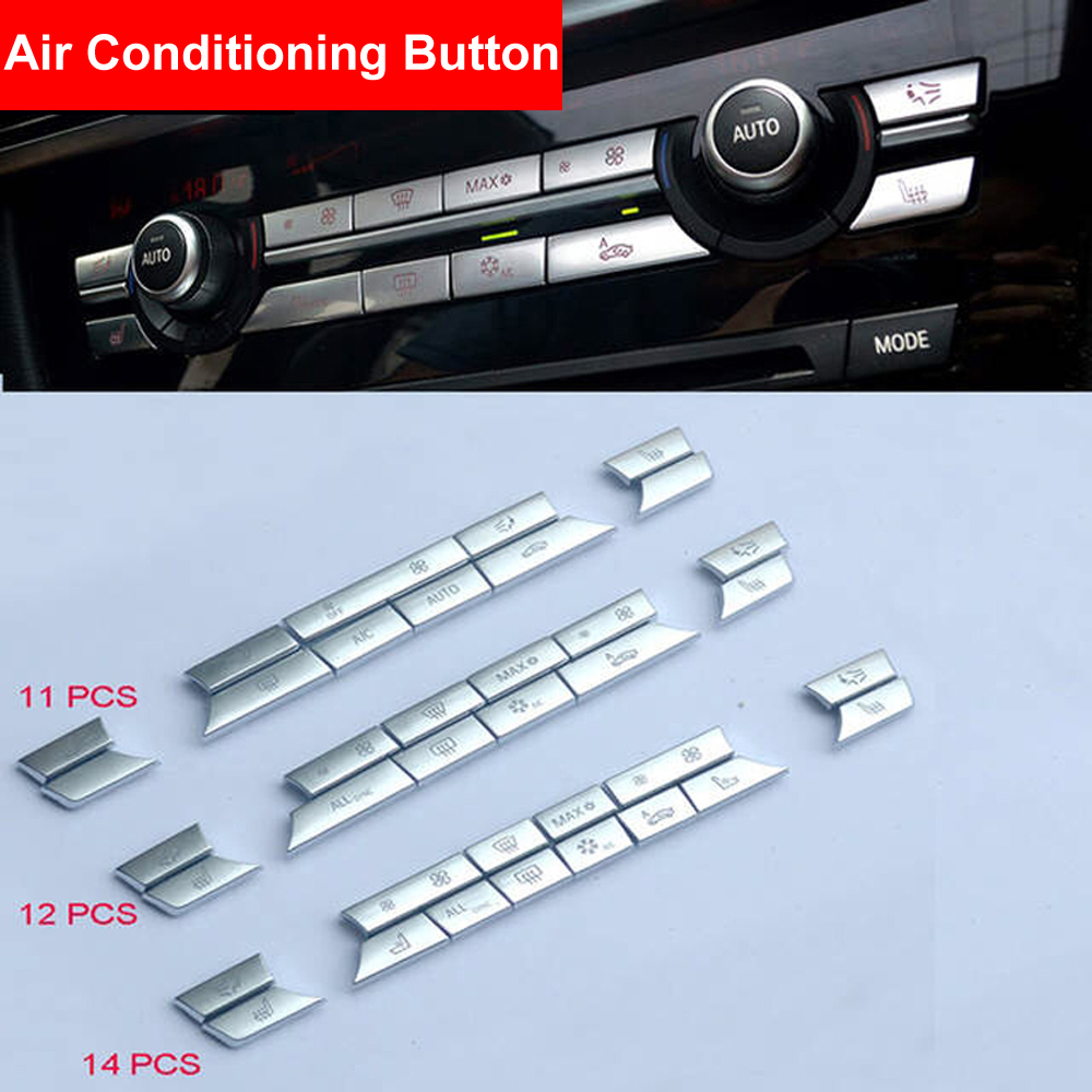 Chrome ABS Air Conditioner Button Sequin Decoration Cover Trim Sticker For BMW F10 F11 F06 F01 E70 E71 F25 F26 X5 X6 Replacement in Interior Mouldings from Automobiles Motorcycles
