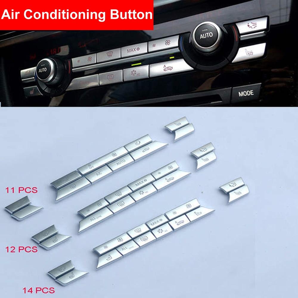 Chrome ABS climatiseur bouton Sequin décoration couverture garniture autocollant pour BMW F10 F11 F06 F01 E70 E71 F25 F26 X5 X6 remplacement