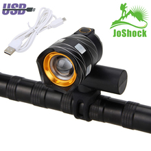 JoShock 15000LM T6 LED Bicycle Light Bike light Front Lamp Outdoor Zoomable Torch Headlight USB Rechargeable with Taillight