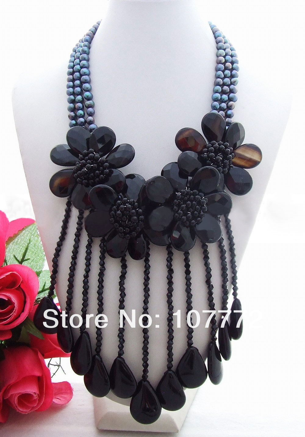 Charming! Pearl&Onyx&Crystal Necklace free shipmentCharming! Pearl&Onyx&Crystal Necklace free shipment