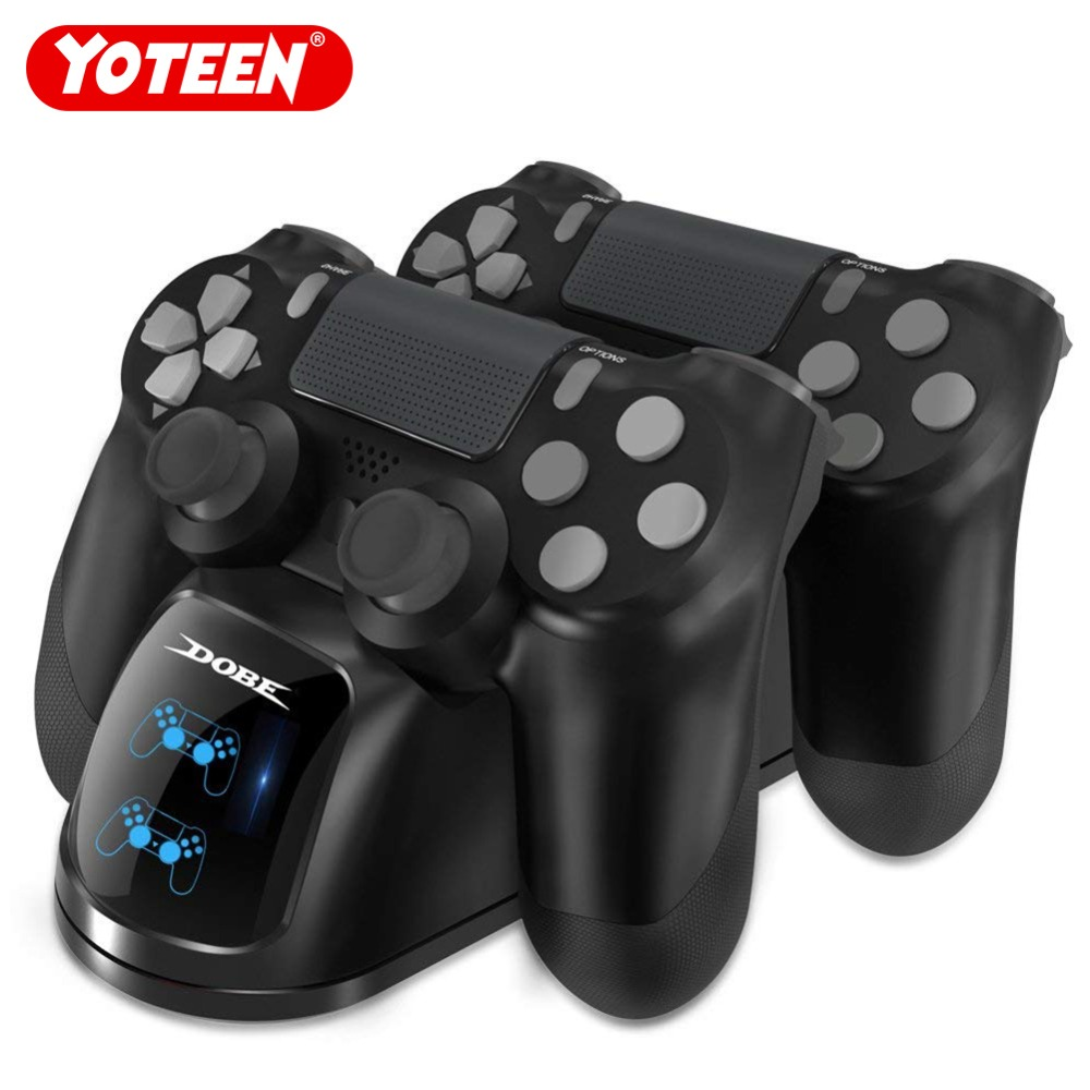 YOTEEN for PS4 Controller Charger Dualshock 4 Controller Charging Dock Station Dual Charger with Charging Status Display Screen