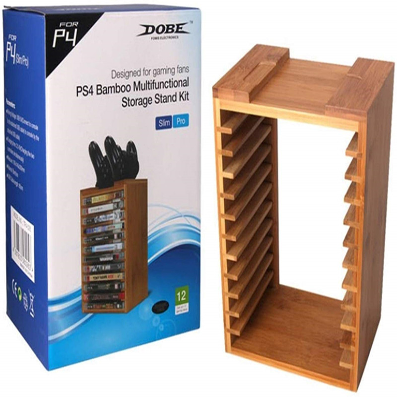 Bambou multifonctionnel détachable jeu disques CD disques titre stockage support kit de support organisateur pour Playstation 4 PS4 Pro Slim