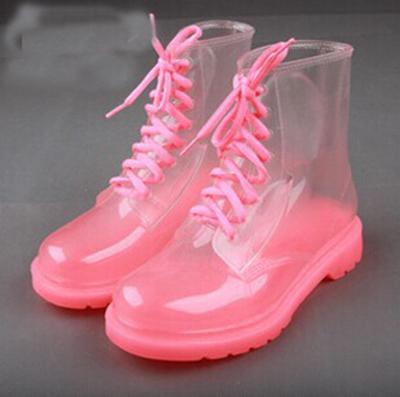 2017 New Arrival 17 Tipos de Mulheres Chuva Botas Impermeáveis Martin Botas Sapatos de Geléia de Cristal Transparente Botas Zapatos Botas De Silicone