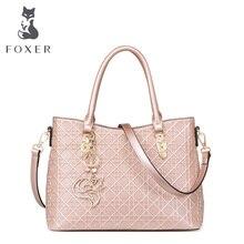 FOXER Mode Frauen Leder Geprägte handtasche & Crossbody-tasche frauen Schultertasche solide frauen handtaschen