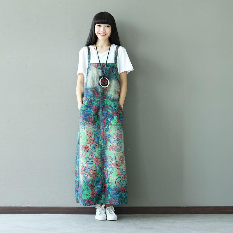 Women Maxi Printed Flower Denim Dress New Suspenders Denim Dress cute Fashion Plus Size Bib Overalls