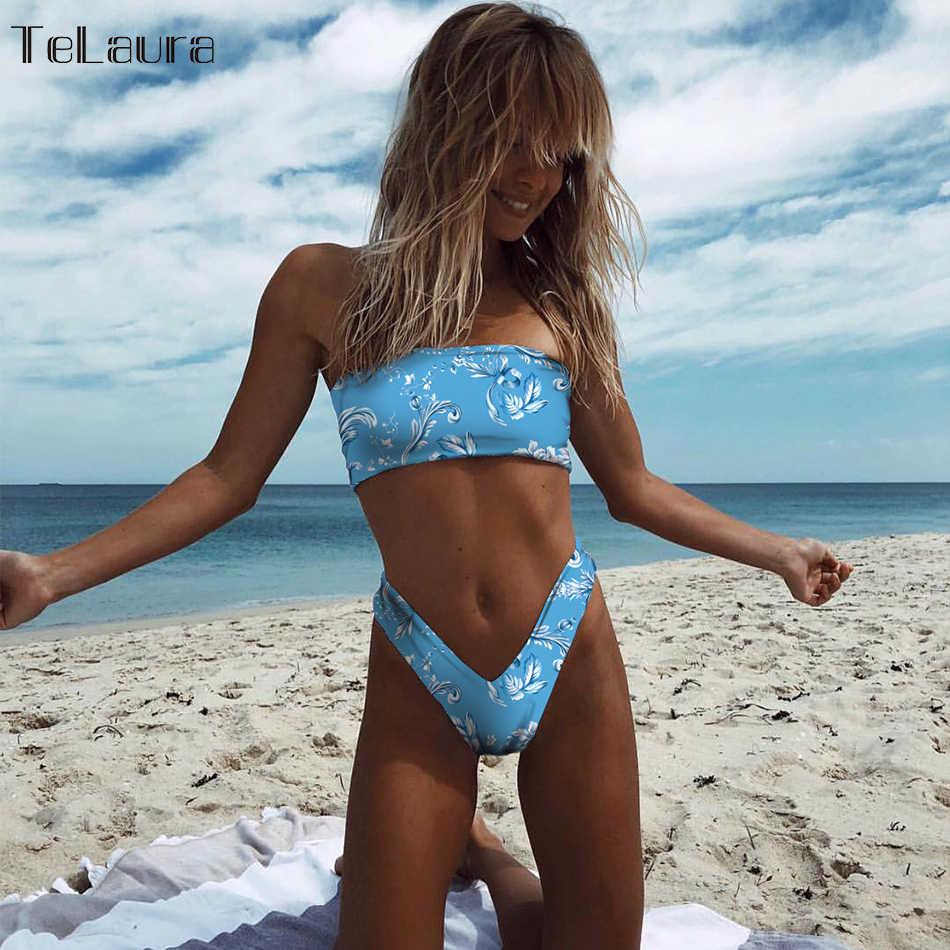 2019 новый сексуальный бикини Для женщин Плавание носить росту Плавание Костюм бандо Бикини ванный комплект пляжная одежда с высокой женский купальник