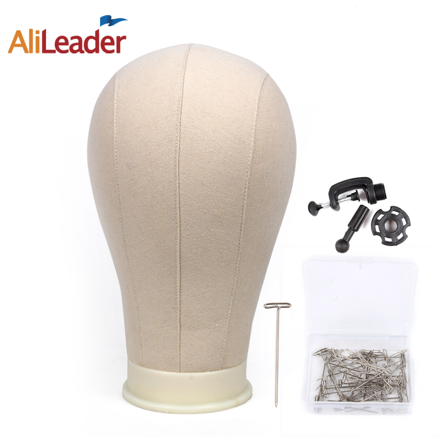 Alileader Canvas Block Head Manequin Head Wig Display Styling Head With Mount Hole Plain Face Head with Stand for Wigs Hat head