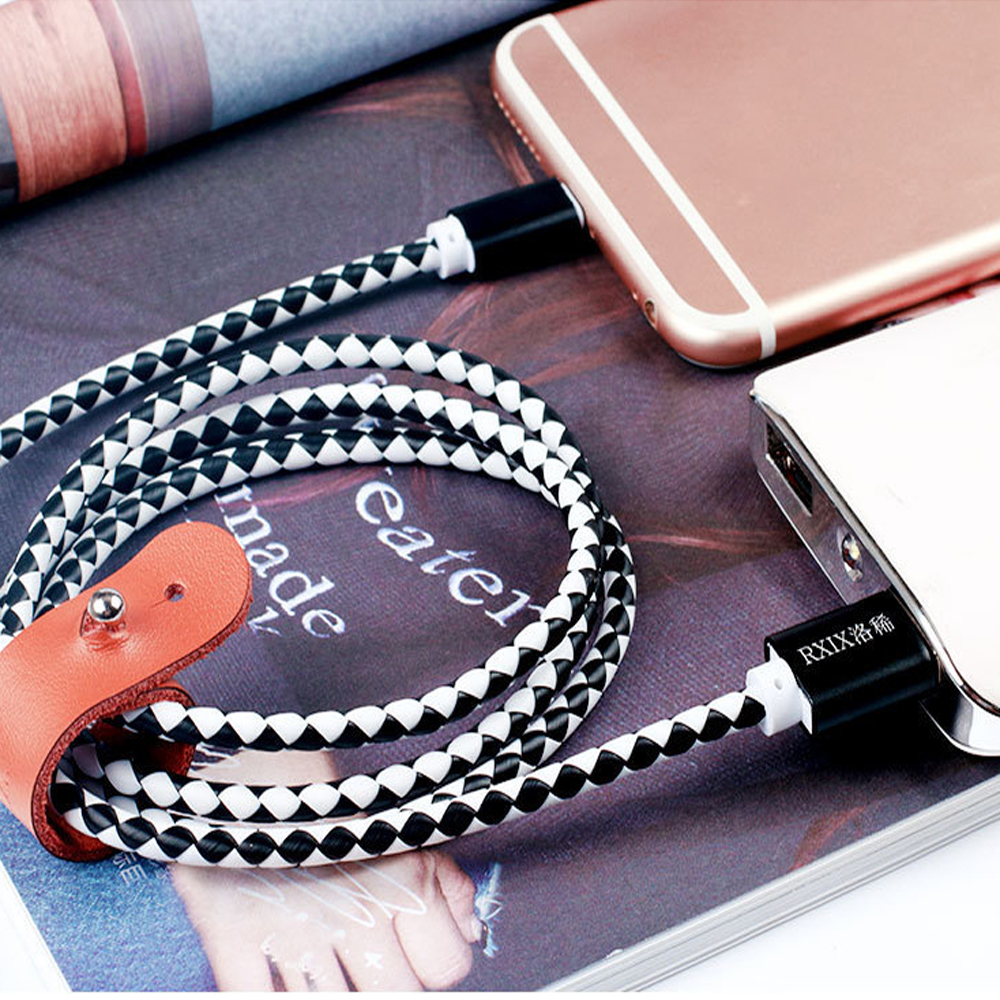 Micro USB Date Cable Fast Data Charging Charger Wire Leather weaving For iPh for Android Mobile Phone Wire 1M