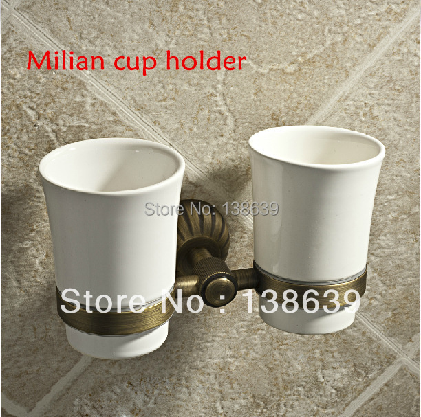 Free Shipping Double Tumbler Holder/Toothbrush Cup Holder, Brass bronze Base +ceramic Cup,Bathroom Accessories-8205 free shipping ba9105 bathroom accessories brass black bronze toilet paper holder