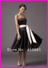 Black And White Square Neck Short Bridesmaid Dresses Wear Sash Satin B085