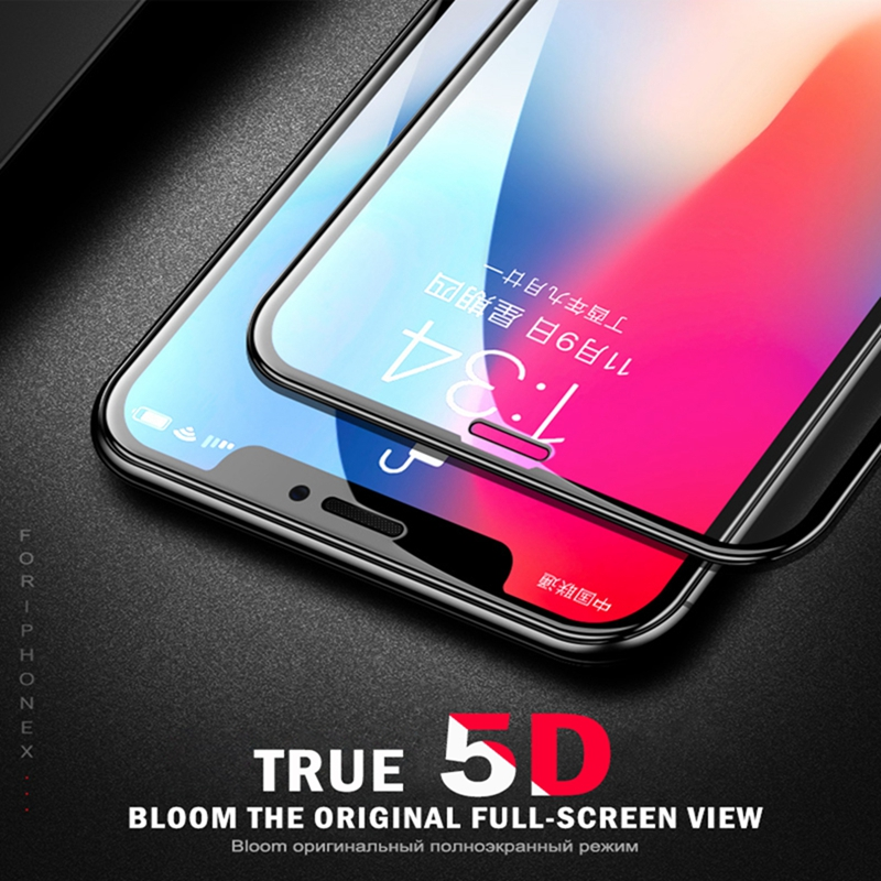 GerTong Hel täckt härdat glas för iPhone X 8 7 6 6S Plus 5D Curved Edge Screen Protector för iPhone X 10 8 7 Plus XS Max XR