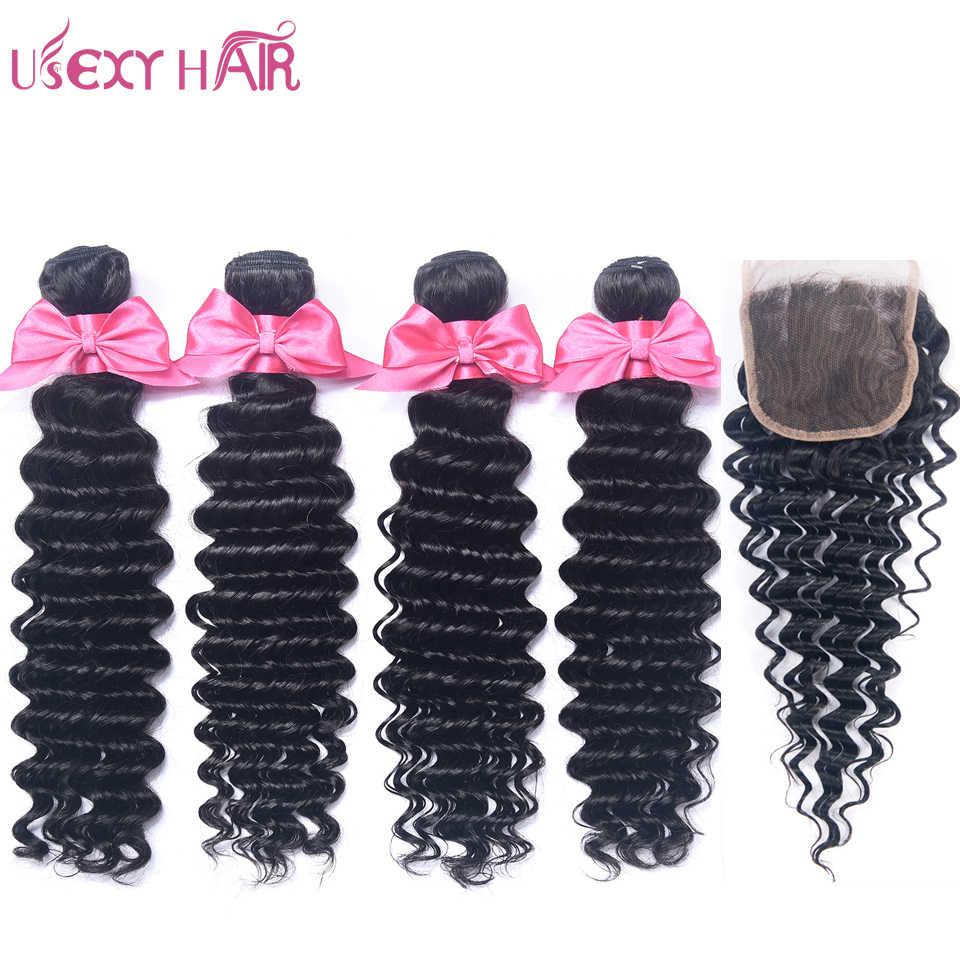 USEXY волос бразильский натуральные волосы Ткань Связки с закрытием 4 шт. глубокая волна Связки с закрытием 4*4 Бесплатная/ средняя часть Волосы remy
