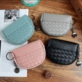 2017 Fashion Free Shipping Multi Colors Women Cute Mini D-shaped Coin Purse Knitting PU leather Wallets for Ladies Coin Bag