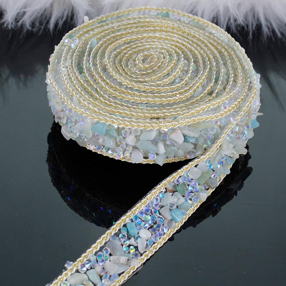 2yard White Blue Crystal Chain Hotfix Rhinestones Trim Chain Scrapbooking Iron On Applique Craft Sewing Accessories