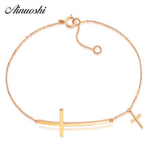 AINUOSHI Jesus Christian Womens Mens Horizontal Sideways Cross Bracelets 18K Real Pure Gold Religious Trendy Link Chain Bracelet