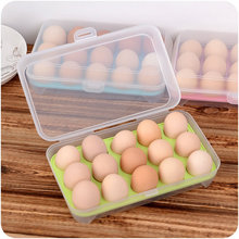 ФОТО Feature Food  PP 15 Grid Egg Anti-Collision Storage Box Refrigerator Crisper Egg Box Egg Storage Holder Kitchen Supplies