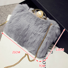 2016 Winter Fashion Genuine Rabbit Fur Shoulder Bag Women Real Fur Crossbody Bag Female Small Chain Evening Party Messenger Bag