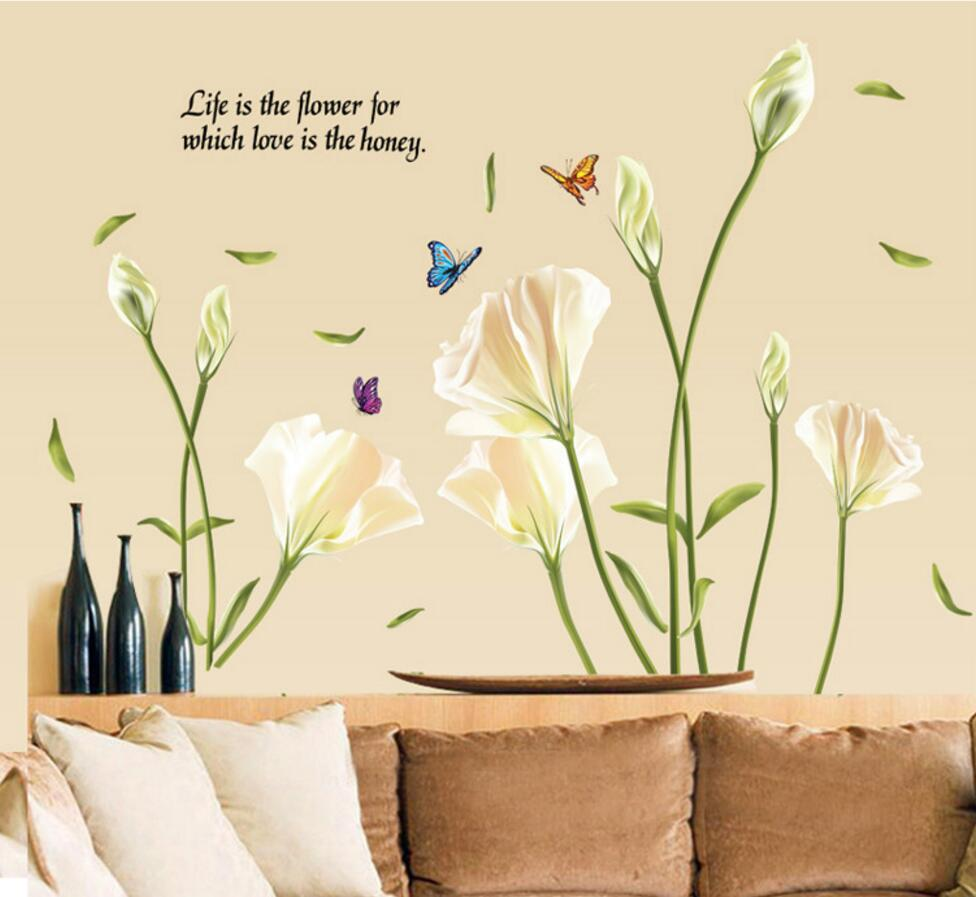 Lily Flowers Wall Sticker On The Wall VinYl Wall Stickers Gome Decor ...