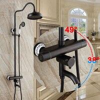 Смесители для душа Термостатический смеситель для душа комплект Ванная комната осадков набор для душа с смеситель настенный двойной ручко...