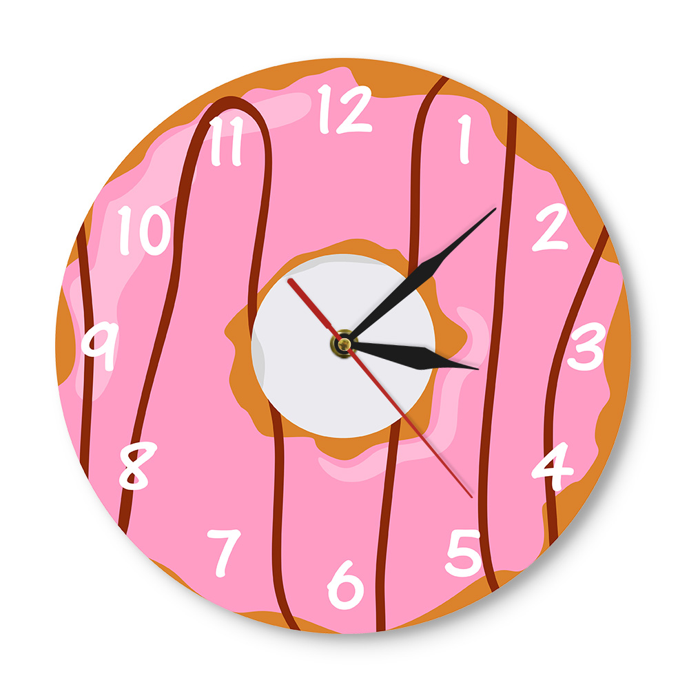 Colorful Printed Doughnut Wall Clock Kawaii Dessert Sweets Modern Wall Clock Bakery Business Sign Wall Decor Donut Lover Gift