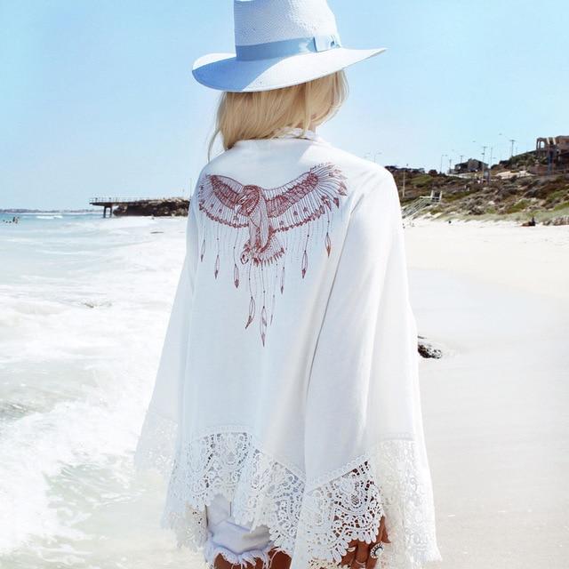 Patrón águila manga larga crochet cover up blanco playa vestido ...