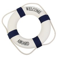 PHFU Decorative Welcome Aboard Nautical Lifebuoy Ring Wall Hanging Home Decoration (Blue, 45cm)
