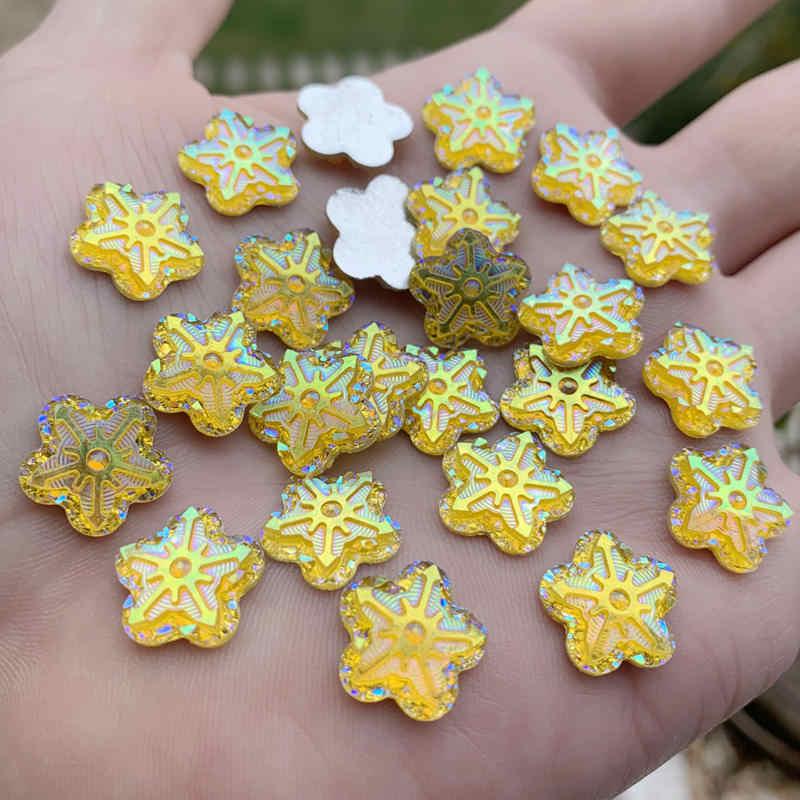 50 Buah 14 Mm Cute Resin Bunga dengan Berlian Imitasi Flatback Cabochon untuk DIY Perhiasan, Telepon, kuku Artdecoration Kerajinan Manik-manik-A662