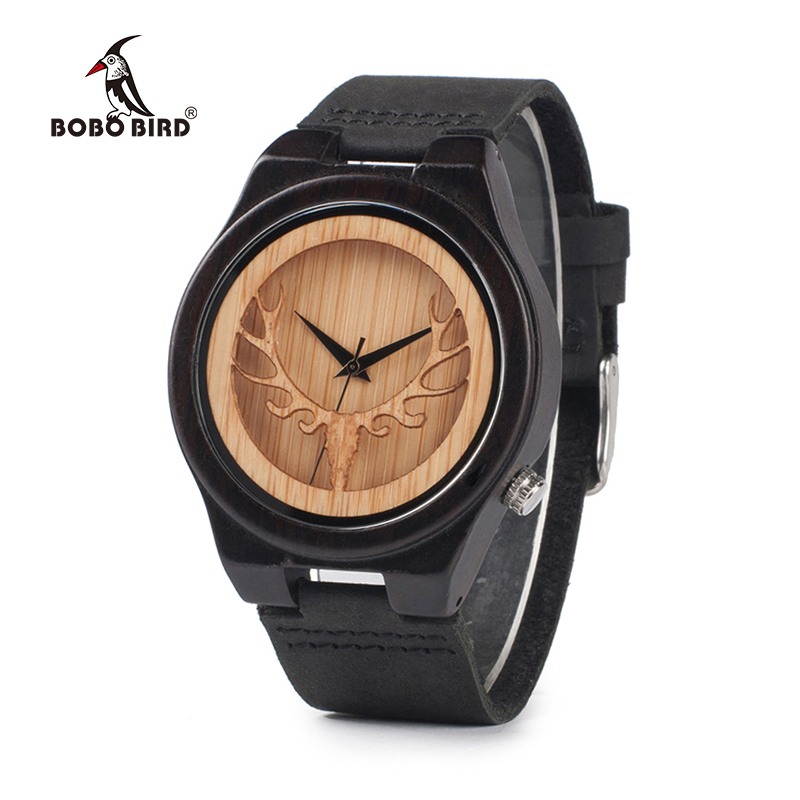 BOBO BIRD Hollow Skeleton Engraved Deer Head Bamboo Wood Watch Japan Movement 2035 Quartz Watch with Leather Strap for Mens 2016 natural bamboo wood wristwatch japan quartz movement 2035 army nylon fabric strap new fashion wood watch with nylon band