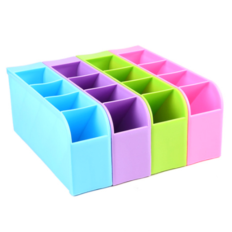 Multifunction Four Grid Candy-colored Desktop Debris Storage Organizer Box for Office,stationery Pen, Socks, Make up Tools P20