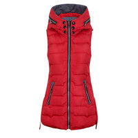 Autumn New Down Cotton Vest Women Plus Size Solid Color Slim Was Thin Thick Hooded Mid Length Femme Casual Warm Coat MZ3093
