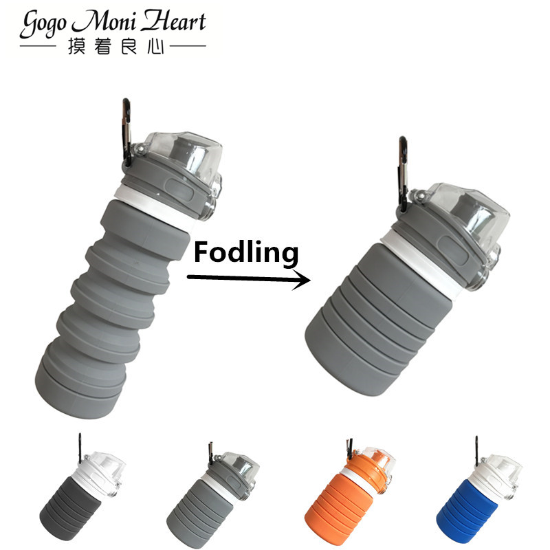 Food Grade Silicone 500ML Creative Collapsible Water Bottles For Sports Drink Camping Travel My Cycling Foldable Bottle FDA Free