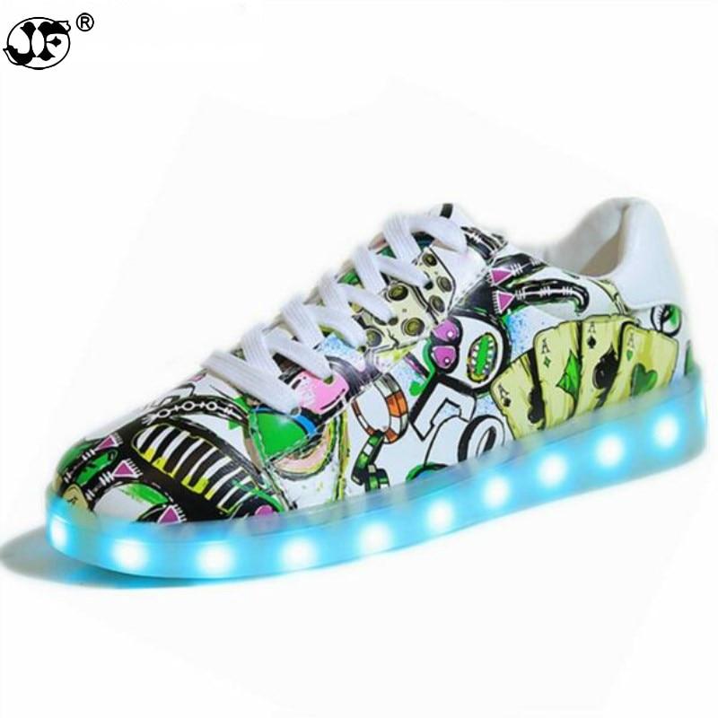 2017 Frühling Led Leucht Schuhe Mit Licht Großen Größe Simulation Sohle Led Schuhe, Männer Mode Licht Up Led Glowing Shoes886