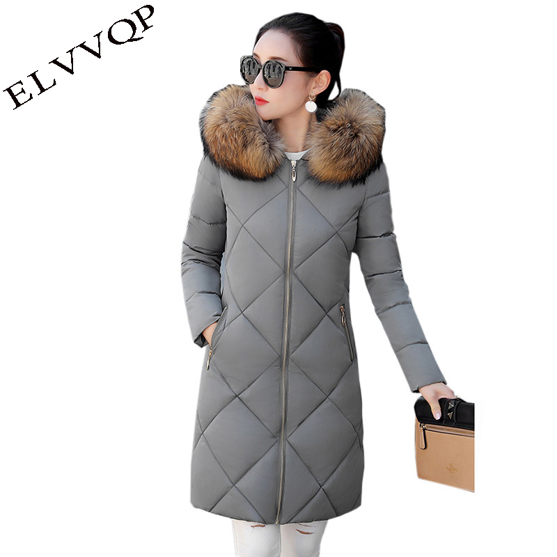 Women winter Cotton jacket 2018 New fashion hooded Overcoat Long section Fur collar thick jacket warm parka Female coat LU197 fashion long parka kids long parkas for girls fur hooded coat winter warm down jacket children outerwear infants thick overcoat