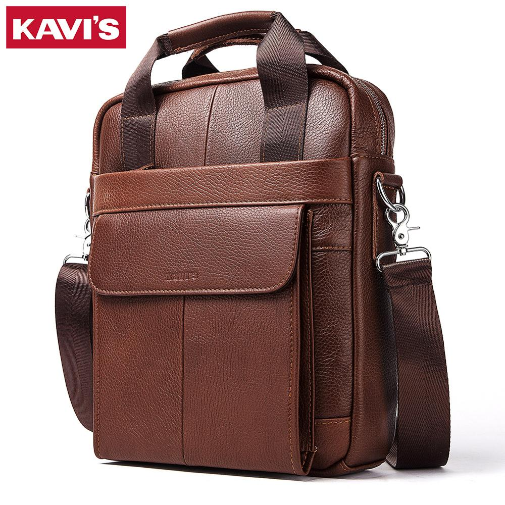 KAVIS 2019 New Cowhide Genuine Leather Messenger Bag Small Vintage Men Shoulder Bags Business Crossbody Casual Famous Sling Sac