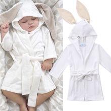 Симпатичные новорожденных малышей Детские для маленьких мальчиков с капюшоном для девочек Для ванной Халат кролик 3D уха Для ванной ing повязки Полотенца пижамы