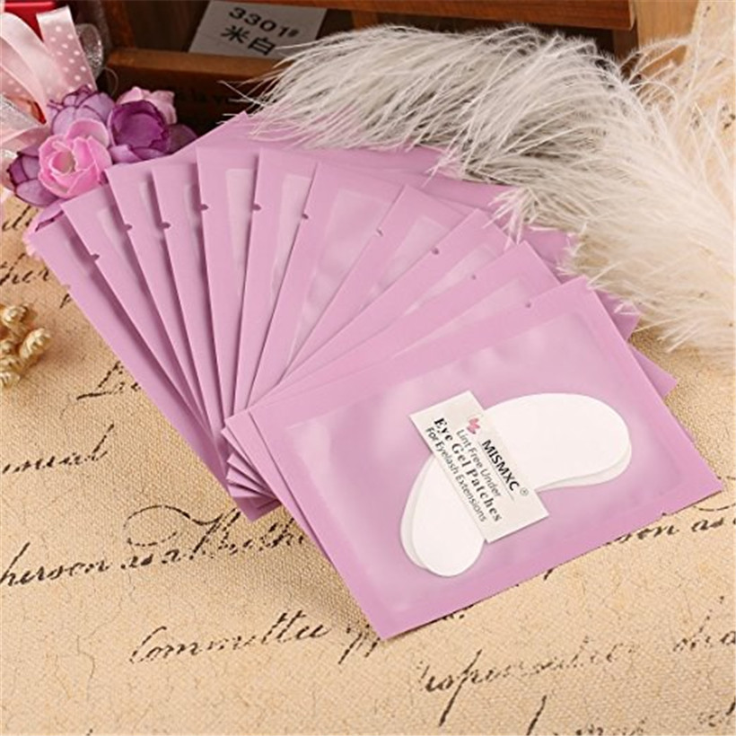MISMXC 100 Pairs Professional Lint Free Under Eye Gel Pad Patches for Eyelash Extensions thin soft lint free surface hydrogel eyepatch eyelash extension eye pads