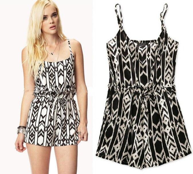 2014 Summer Fashion Women Geometric Patterns Cotton Black White