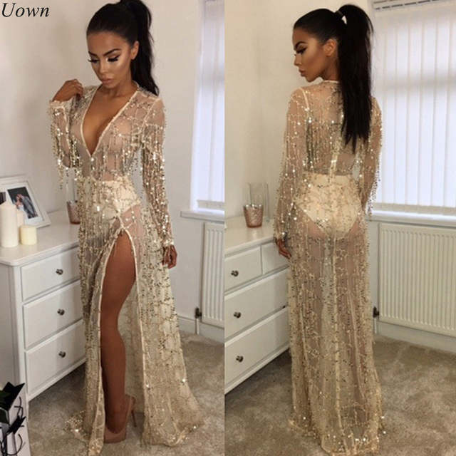 ca71d878eb09c4 Online Shop Sexy Split Gold Sequin Tassel Beach Party Club Wear Long Maxi  Dresses Women Deep V-Neck Long Sleeve Mesh Sheer Summer Sundress |  Aliexpress ...