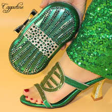 Capputine Italian PU With Rhinestone Shoes With Matching Bag Set Fashion Elegant Woman Pumps Green Color Shoes And Bag Set