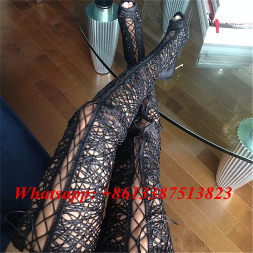 Sexy Lace Thigh High Boots Cross-tied Cuts-outs Zip Gladiator Sandal Boots Women Ove The Knee High Heels Ladies Motorcycle Boots