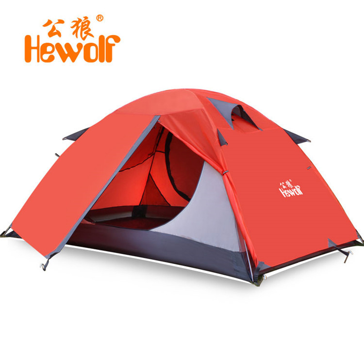 Hewolf 2-3 People Camping Tents Waterproof Lightweight High Quality Double Layer For Travel Adventure Beach Hiking Tents 1572 mobi outdoor camping equipment hiking waterproof tents high quality wigwam double layer big camping tent