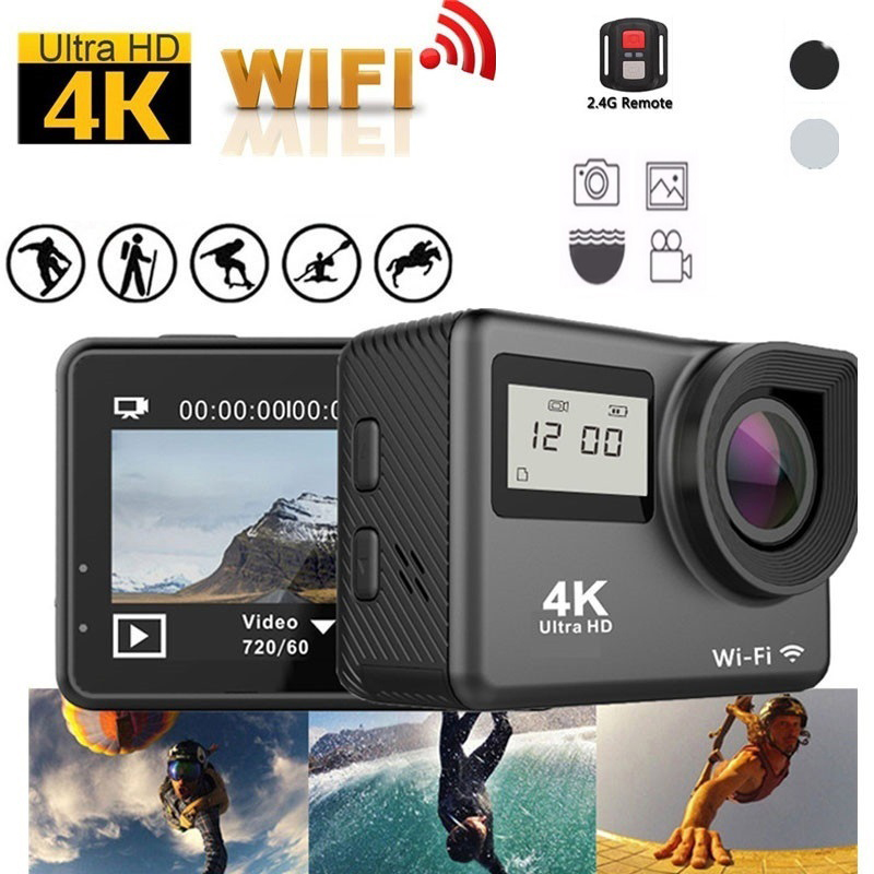 4K Action Camera WiFi Dual Screen Ultra HD 30m Waterproof DV Sports 170 Degree Wide Angle Lens Free Traveling Camera EU/US Plug