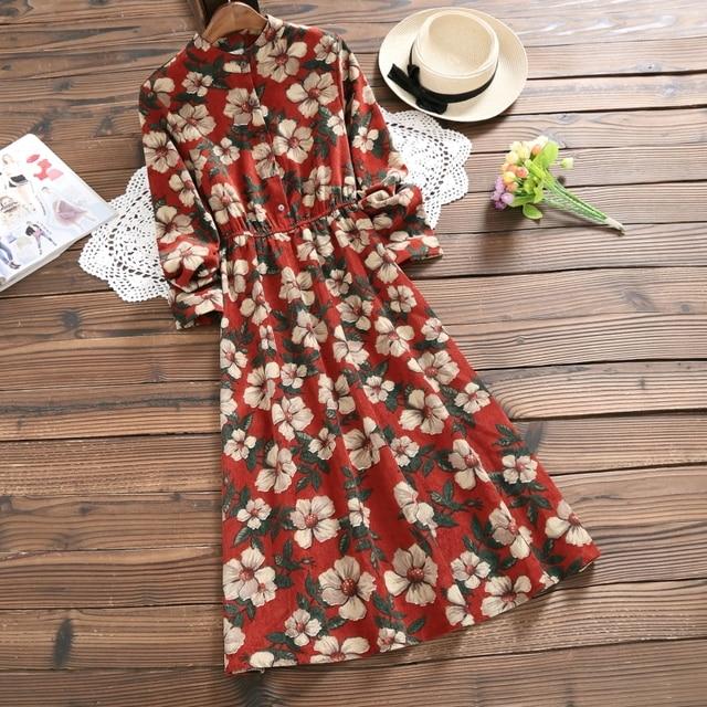 Big Flower Printed Vintage Dress New Autumn Winter Women Long Sleeved Floral Print Retro Long Corduroy Dresses Navy Blue,Red