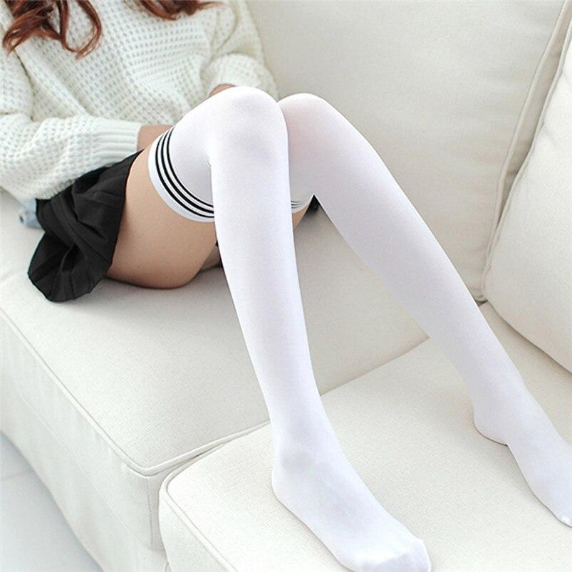 Sexy Medias Fashion Striped Knee Socks Women Cotton Thigh High Over The Knee Stockings for Ladies Girls Warm Long Stocking R03 (10)