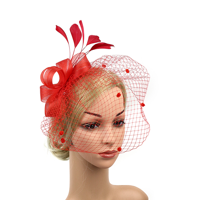 Wedding Vintage Style Hair Accessories: Fashion Women Feather Net Bow Hair Veil Hair Pins Vintage